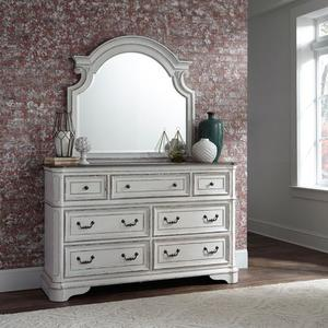 King Uph Bed, Dresser & Mirror, Chest, Night Stand