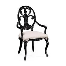 Black painted sheraton style oval back armchair