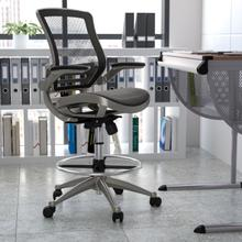Mid-Back Transparent Black Mesh Drafting Chair with Graphite Silver Frame and Flip-Up Arms