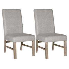 Jefferson 2-Pack Upholstered Side Chair, Distressed Brown