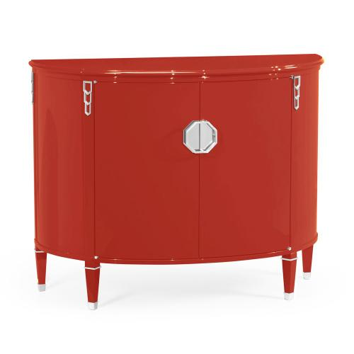 Demilune Vermillion Red Storage Cabinet