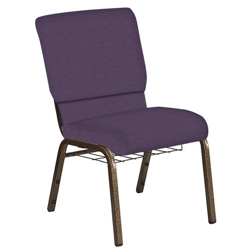 Flash Furniture - 18.5''W Church Chair in Illusion Wisteria Fabric with Book Rack - Gold Vein Frame