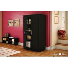 2-Door Storage Cabinet - Pure Black