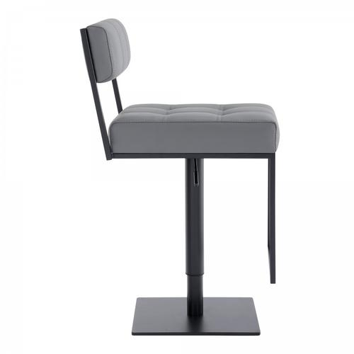 Armen Living - Michele Contemporary Swivel Barstool in Matte Black Finish and Grey Faux Leather