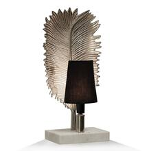 NICKEL NIGHT LIGHT  7in w. X 17in ht. X 5in d.  Metal Leaf Design Desk or Side Table Lamp on Natur