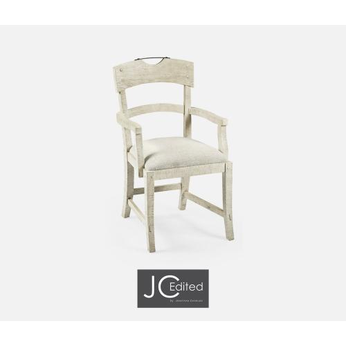 Planked White Wash Driftwood Dining Armchair, Upholstered in Shambala