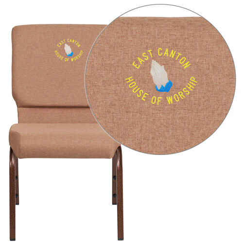 Embroidered HERCULES Series 18.5''W Caramel Fabric Stacking Church Chair with 4.25'' Thick Seat - Copper Vein Frame