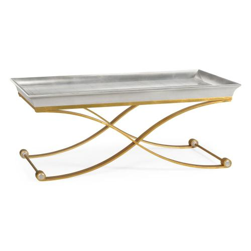 Coffee table with gilded silver leaf