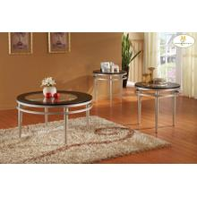 3-Piece Occasional Tables Cocktail Table: 36 Dia x 20H End Table: 24 Dia x 21H