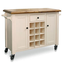 CASTER WINE CABINET  47in w X 36in ht X 18in d  Natural Wood Sliding Top Serving Cabinet on Wheels