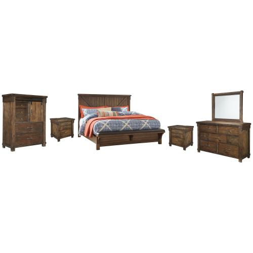 Queen Panel Bed With Upholstered Bench With Mirrored Dresser, Chest and 2 Nightstands