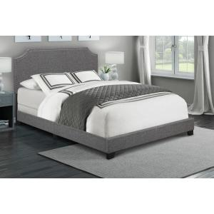 Clipped Corner Upholstered King Bed in Dark Grey