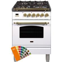 Nostalgie 24 Inch Dual Fuel Natural Gas Freestanding Range in Custom RAL Color with Brass Trim