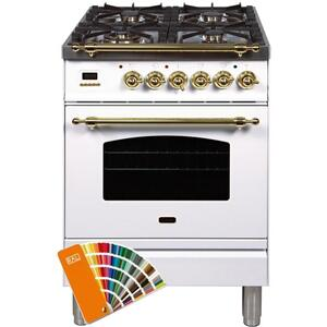 Ilve - Nostalgie 24 Inch Dual Fuel Natural Gas Freestanding Range in Custom RAL Color with Brass Trim