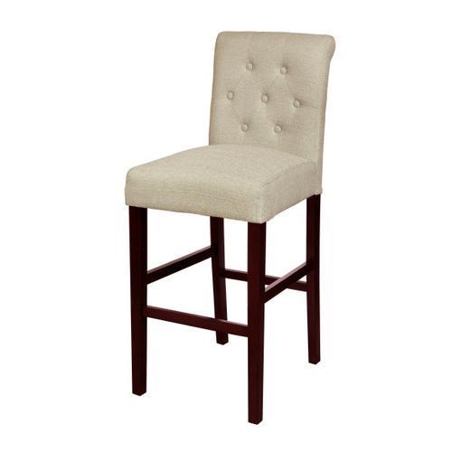 Tufted Rolled Back Upholstered Barstool in Beige
