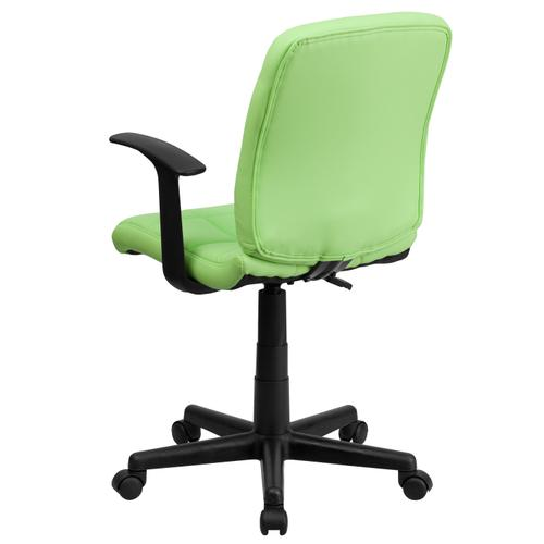 Gallery - Mid-Back Green Quilted Vinyl Swivel Task Office Chair with Arms