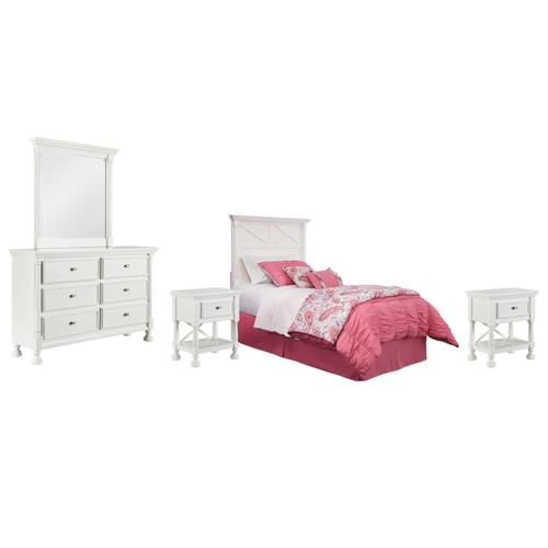 Ashley - Twin Panel Headboard With Mirrored Dresser and 2 Nightstands