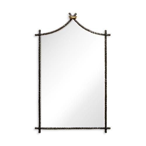 Bronze hammered wall mirror