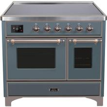 See Details - Majestic II 40 Inch Electric Freestanding Range in Blue Grey with Bronze Trim