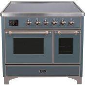 Majestic II 40 Inch Electric Freestanding Range in Blue Grey with Bronze Trim