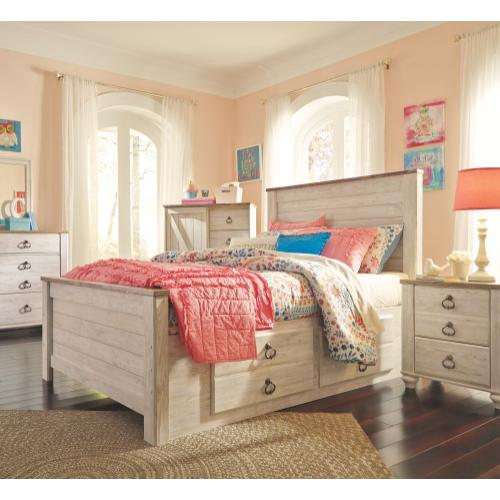 Willowton Full Panel Bed With 2 Storage Drawers