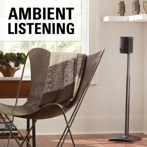 Black Adjustable Height Wireless Speaker Stand designed for Sonos One, Sonos One SL, Play:1, and Play:3 - Single