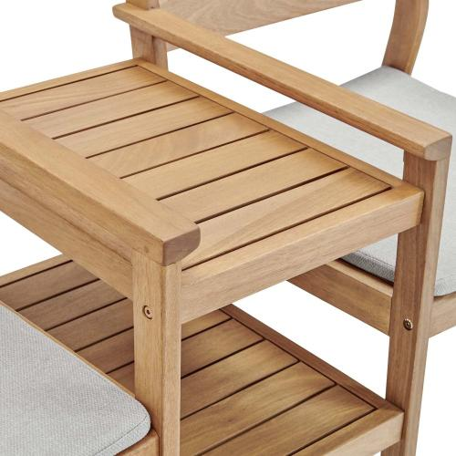 Viewscape Outdoor Patio Ash Wood Jack and Jill Chair Set in Natural Taupe