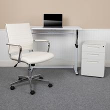 See Details - Work From Home Kit - White Adjustable Computer Desk, LeatherSoft Office Chair and Inset Handle Locking Mobile Filing Cabinet