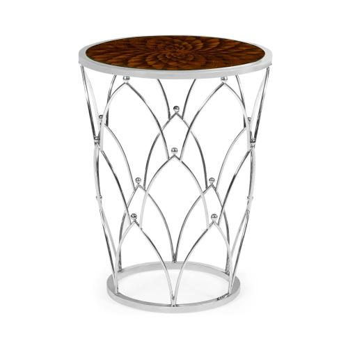 Feather inlay round side table