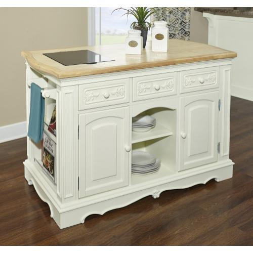 Three Adjustable Shelves and Three Drawers Kitchen Island, White