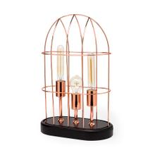 "Sutton (19.3""H) Rose-Gold Metal Cylindrical Cage Three Bulb Table Lamp"