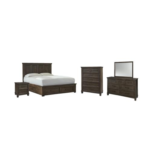 King Panel Bed With 4 Storage Drawers With Mirrored Dresser, Chest and Nightstand