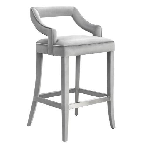 Tov Furniture - Tiffany Grey Velvet Bar Stool
