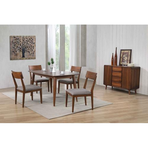 Dining Table Set w/Padded Performance Fabric Chairs & Server - Mid Century (6 Piece)