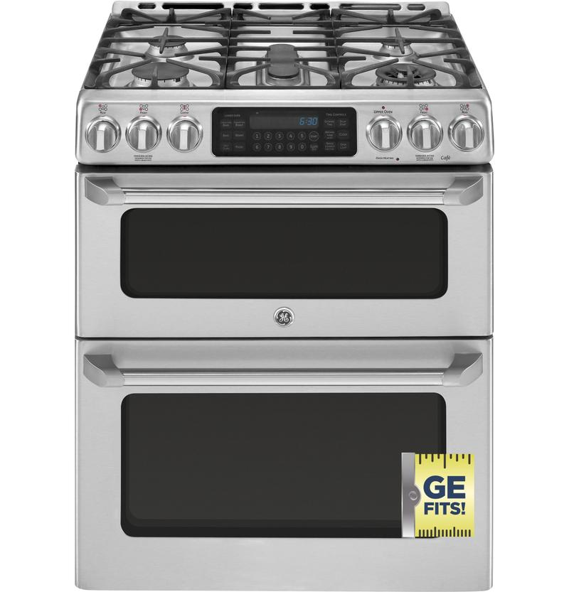 Xcgs990setss In By Ge Appliances In Austin Tx Scratch And Dent Ge Cafe Series 30 Slide In Front Control Gas Double Oven With Convection Range