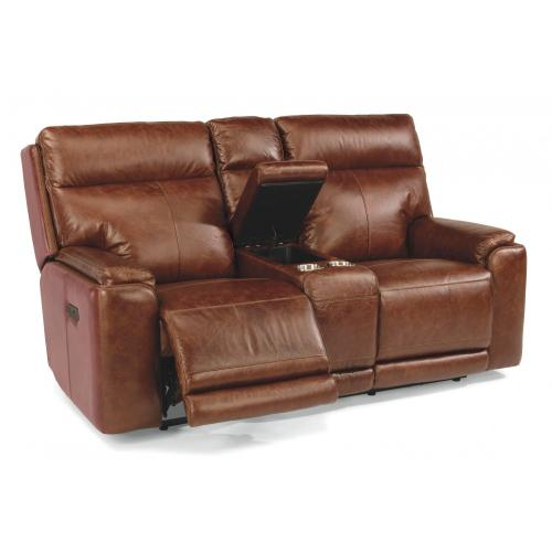 Sienna Power Reclining Loveseat with Console & Power Headrests
