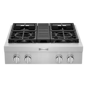 KitchenAid® 30'' 4-Burner Commercial-Style Gas Rangetop - Stainless Steel Product Image