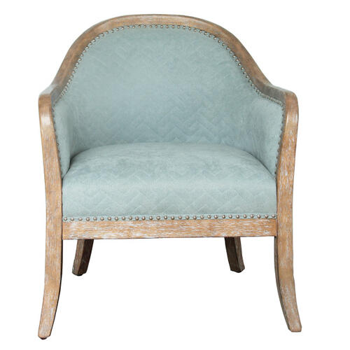 Quilted Blue Wood Frame Accent Chair
