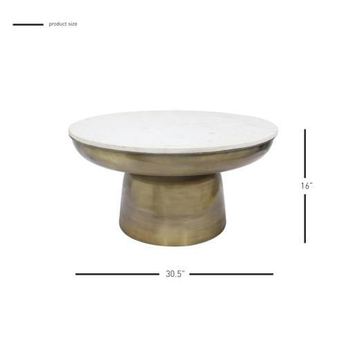 Clyde Marble Coffee Table, Antique Brass
