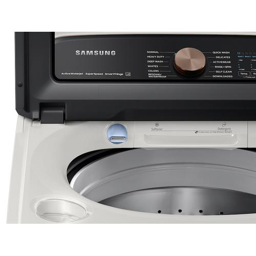 Samsung - 5.5 cu. ft. Extra-Large Capacity Smart Top Load Washer with Super Speed Wash in Ivory
