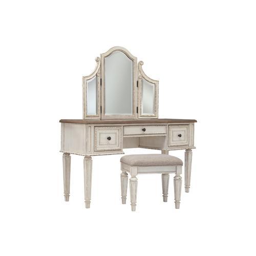 Realyn Vanity/Mirror/Stool (3/CN) Chipped White