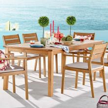"Viewscape 83"" Outdoor Patio Ash Wood Dining Table in Natural"