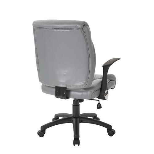 Faux Leather Managers Chair With Flip Arms