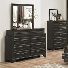 Loiret Antique Grey Finish Wood Dresser and Mirror