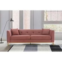 """See Details - Everest 90"""" Blush Fabric Upholstered Sofa with Brushed Gold Legs"""
