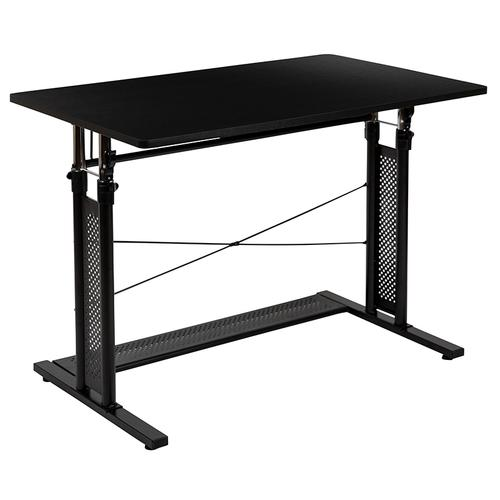 """Flash Furniture - Height Adjustable (27.25-35.75""""H) Sit to Stand Home Office Desk - Black"""