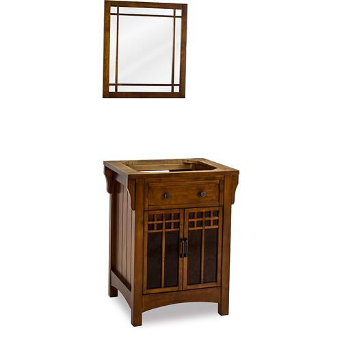 "26-1/2"" vanity base with Chestnut finish and amber-colored mica glass door inserts."