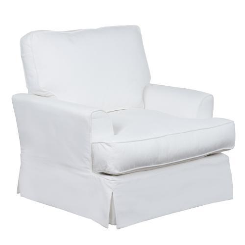 Ariana Slipcovered Chair w/Ottoman - Performance White