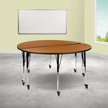 "See Details - 2 Piece Mobile 60"" Circle Wave Flexible Oak Thermal Laminate Adjustable Activity Table Set"