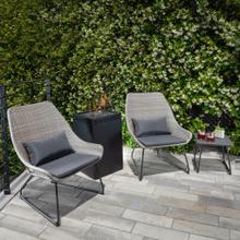 Accent 4-Piece Woven Chat Set in Gray featuring a 40,000 BTU Column Fire Pit, ACCENT4PCGFP-GRY